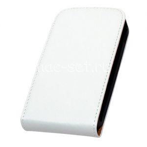 Чехол вертикальный флип кожаный для Samsung Galaxy Ace 2 I8160 (белый)
