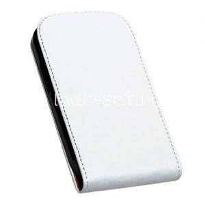 Чехол вертикальный флип кожаный для Samsung Galaxy S3 mini I8190 (белый)