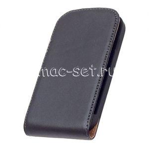 Чехол вертикальный флип кожаный для Samsung Galaxy S3 mini I8190 (черный)