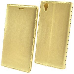 Чехол-книжка кожаный для Sony Xperia L1 / L1 Dual (золотистый) Book Case New