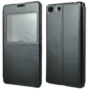 """Чехол-книжка для Sony Xperia M5 / M5 Dual с окошком """"Book Case Time"""" (черный)"""