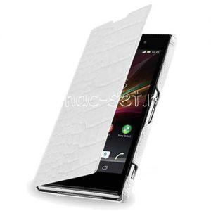 Чехол-книжка для Sony Xperia Z2 [крокодил] (белый) Armor