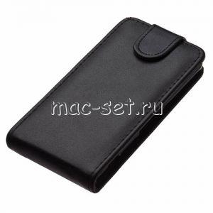 Чехол-книжка вертикальный флип кожаный для Sony Xperia Z3 Compact (черный)