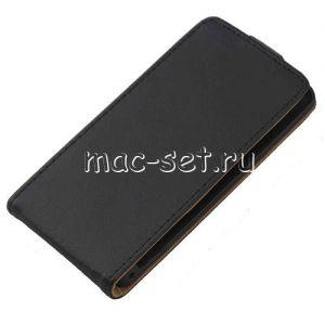 """Чехол-книжка вертикальный флип кожаный для Sony Xperia Z1 Compact """"Премиум"""" (черный)"""