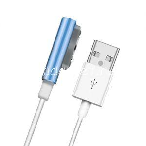 Кабель магнитный для Sony с индикатором зарядки [круглый разъем] (голубой)