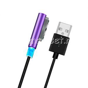 Кабель магнитный для Sony с индикатором зарядки [круглый разъем] (фиолетовый)