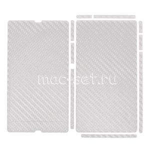 "Виниловая наклейка ""карбон"" для Sony Xperia Z [комплект] (белая)"