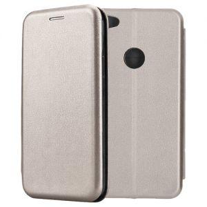 Чехол-книжка кожаный для Xiaomi Redmi Note 5A Prime (серый) Book Case Fashion