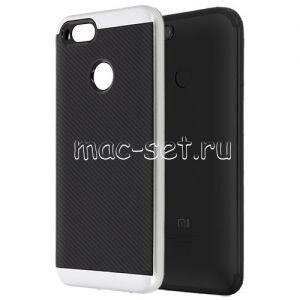 Чехол-накладка для Xiaomi Mi A1 / Mi5x [карбон] Hybrid (серебристый)