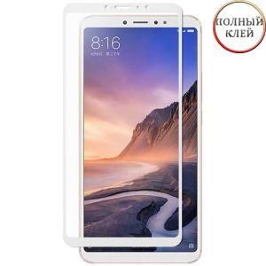 Защитное стекло для Xiaomi Mi Max 3 [клеится на весь экран] (белое)