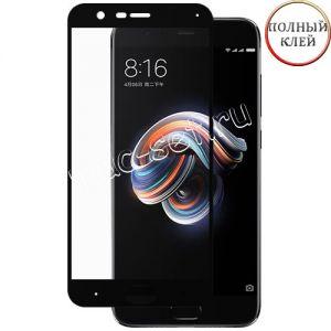 Защитное стекло для Xiaomi Mi Note 3 [клеится на весь экран] (черное)